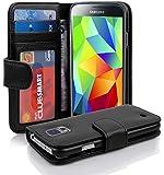 Cadorabo - Book Style Hülle für Samsung Galaxy S5 / S5 NEO (I5500) - Case Cover Schutzhülle Etui mit 3 Kartenfächern in OXID-SCHWARZ