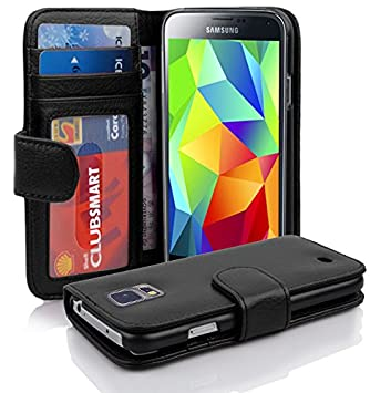 Cadorabo Funda Libro para Samsung Galaxy S5 / S5 Neo en Negro ÓXIDO – Cubierta Proteccíon con Cierre Magnético e 3 Tarjeteros – Etui Case Cover ...