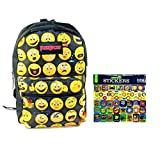 Black Puresport Emoji School Backpack for Kids and Smiley Face Sticker Pack