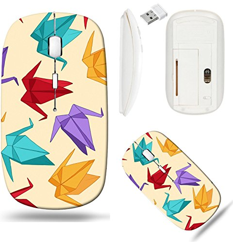 Liili Wireless Mouse White Base Travel 2.4G Wireless Mice with USB Receiver, Click with 1000 DPI for notebook, pc, laptop, computer, mac book ID: 24578178 Origami crane vector seamless pattern