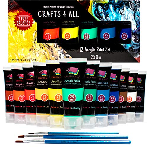 Crafts 4 ALL Acrylic Paints Set Studio Large 75m ml(2.64 oz) Paint Tubes Professional Grade Painting Kit for Canvas, Wood, Clay, Fabric, Nail Art, Ceramic (Pro Nail Art Set)