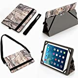 Universal 10.1 Inch Tablet Case Cover (10co) Pu Leather Folio Style Fits Linsay Cosmos F-10hd (Camouflage Camo Flag Realtree Mossy Oak Hunting)