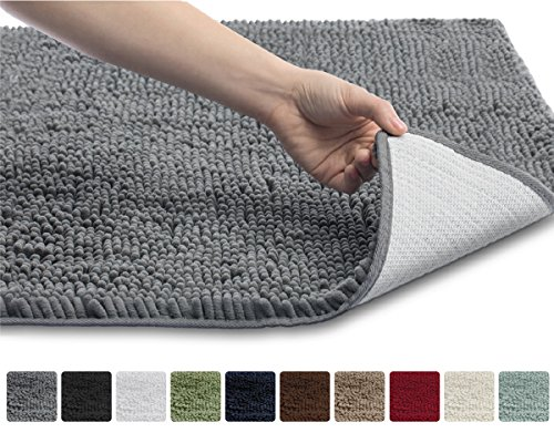 The Original GORILLA GRIP Shaggy Chenille Bathroom Rug Mat, 3 Sizes and 10 Colors, Extra Soft and Absorbent, Machine-Washable, Perfect for Bath, Tub, and Shower (Gray, 30