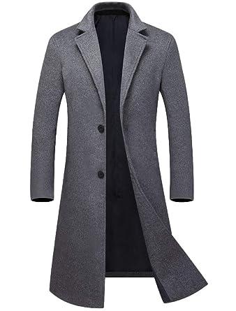 online store bd8fa 17e70 Mallimoda Herren Mantel Lang Windbreaker Wollmantel Slim Fit ...