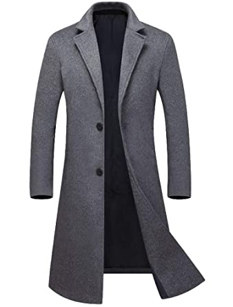 online store 82dfb 47992 Mallimoda Herren Mantel Lang Windbreaker Wollmantel Slim Fit ...
