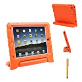 HDE iPad Air 1 Bumper Case for Kids Shockproof Defender Cover Carry Handle Stand with Built in Screen Protector and Matching Stylus for Apple iPad Air 1 (Orange)