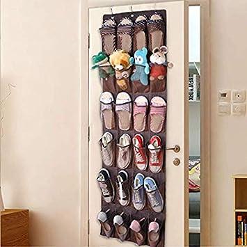 Door Hanging Shoe Rack.24 Pockets Over The Door Hanging Shoe Organizer Non Woven Large Folding Wardrobe Rack Organizer