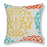 CaliTime Canvas Throw Pillow Cover Case for Couch Sofa Home, Three-tone Floral Compass Geometric 18 X 18 Inches, Turquoise/Yellow / Orange Red