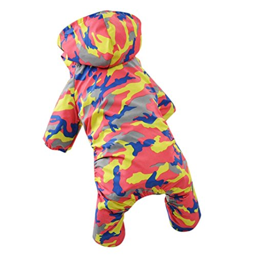2018 Hot Sale!❤️ZYEE❤️ BIG PROMOTION!Pet Dog Clothes Camouflage Raincoat Hoodie Hooded Rain Coat Small Dogs Pet (S, Orange)
