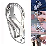 Feccile Stainless Steel Bottle Opener Keychain Multi-Function Key Clip Pocket Tools Wrench Screwdriver Quick Key Clip Stainless Steel Carabiner Keychain