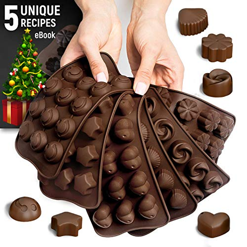 Valentine Baking Supplies (Silicone Candy Molds + 5 Recipes eBook - 6 Pack - FDA Approved Silicone Molds For Fat Bombs - Chocolate)