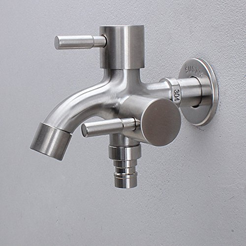 Ocamo Creative Water Tap Stainless Steel Wall-in Faucet 1 in 2 Out Multifunctional Water Tap