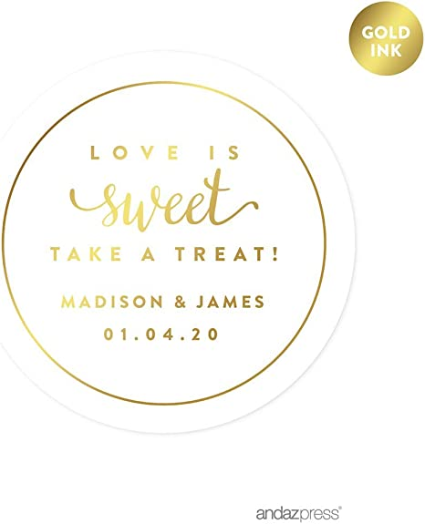 100 Candy Labels Transparent Shiny Gold Foil Personalized Wedding Stickers