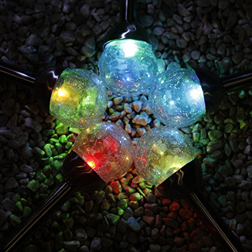 grand patio crackle glass globe solar path lights weather resistant solar garden lights. Black Bedroom Furniture Sets. Home Design Ideas