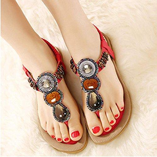 zjenee Mujer Flat Sandal de Bohemia verano playa zapatos Red
