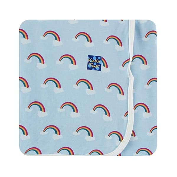 KicKee Pants Print Swaddling Blanket (One Size, Pond Rainbow)