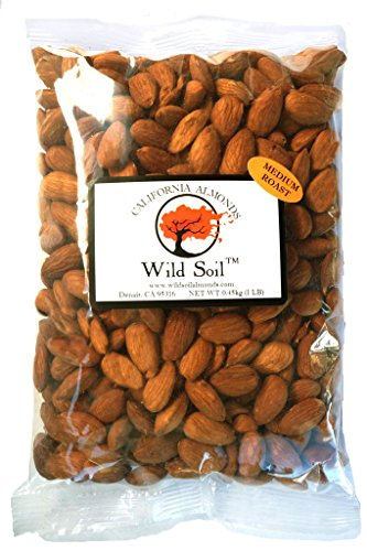 Wild Soil Almonds - Distinct and Superior to Organic, Steam Pasteurized, Medium Roasted 1LB Bag