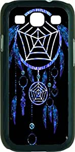 Neon Blue Dreamcatcher - Case for the Samsung Galaxy S III-S3- Black Rubber Case with a Flip Cover