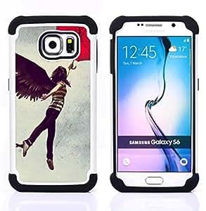 For Samsung Galaxy S6 G9200 - Girl Angel Wings Dark Black Umbrella Woman Art /[Hybrid 3 en 1 Impacto resistente a prueba de golpes de protecci????n] de silicona y pl????stico Def/ - Super Marley Shop -