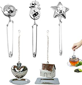 5PCS Tea Balls for Loose Tea, 18/8 Food-Grade Stainless Steel Tea Diffuser, with Cute Shaped Tea Filter Tong & Extended Chain Hook Drip Trays X2, Suitable for Most Coffee Cups & Mugs, Teapot & Pot