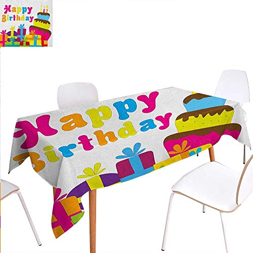Warm Family Birthday Patterned Tablecloth Cute Cartoon Style Lettering Celebration Surprise Boxes Yummy Cake Children Fun Dust-Proof Oblong Tablecloth 54