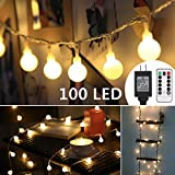 ProGreen 33ft 100 LED Globe String Lights, 8 Dimmable Lighting Modes with Remote & Timer, UL Listed 29V Low voltage Waterproof Decorative Lights for Bedroom, Patio, Garden, Parties(Warm White)
