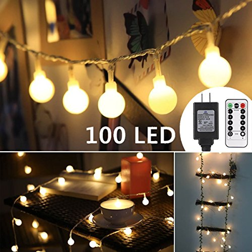 - ALOVECO 33ft 100 LED Globe String Lights, 8 Dimmable Lighting Modes with Remote & Timer, UL Listed 29V Low voltage Waterproof Decorative Lights for Bedroom, Patio, Garden, Party(Warm Color)