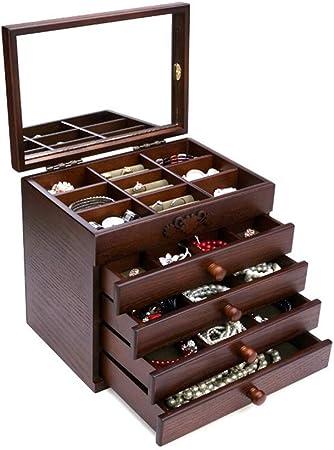 Caja para Joyas, para Pendientes, Pulseras, Anillo Caja de almacenamiento de joyería 5 capas de joyería de madera clásica con espejo Earrling pulsera pulsera organizador de la joyería para mujeres y n: