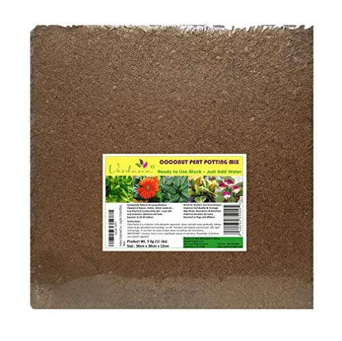 Verdana Coconut Fiber Potting Mix – 10 Lb Compressed Block Brick – Coco Coir, Coco Peat, Coir Pith – Alternative to Peat Moss – Soilless Growing Medium – Low EC, Optimum pH, High Expansion