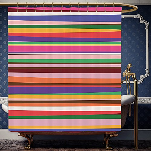 Wanranhome Custom-made shower curtain Striped Decor Gradient Artistic Optical Nostalgic Concept Shapes Funky Vintage Design Violet Orange For Bathroom Decoration 36 x 72 - Optical Stores Me Near