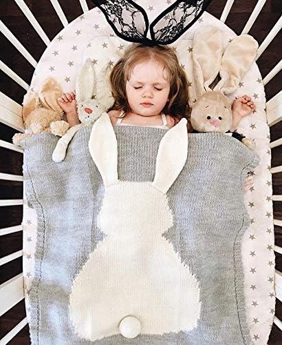 GoMaihe Mantas de Lana Bebe, 108cmx73cm Bonita Conejo Aire Acondicionado Mantas de Bebes Recien Nacidos, Suave Cálida Baby Mantas Infantiles Wrap de Dormir Ropa de Cama, Cumpleaños Niño y Niña, Gris