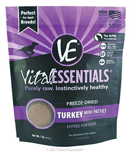 Vital Essentials Freeze-Dried Turkey Mini Patties, 1 lb