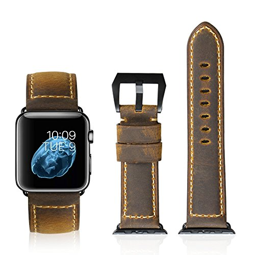 iStrap Handmade Asso Padded Leather Black PVD Clasp Watch Bands Strap For Apple Watch 42mm 38mm (Three Color Can Choose)