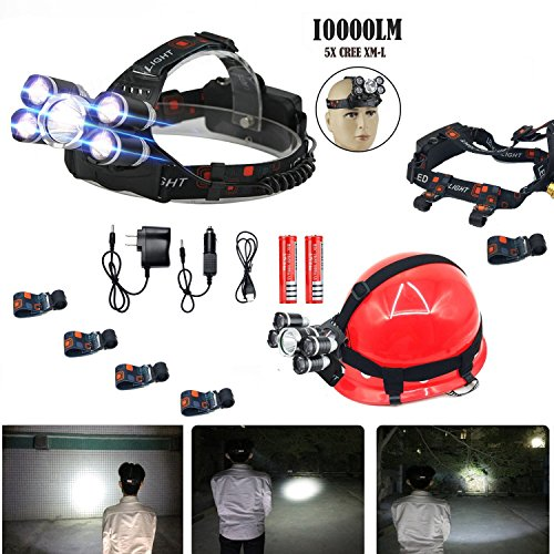 LED Headlamp,10000 Lumens 5T6 Brightest Waterproof,Rechargeable Headlight Flashlight for Safety cap hook Hiking,camping,running ,Cycling,Cree headlamps,18650 Batteries Charger (4x Safety cap hook)