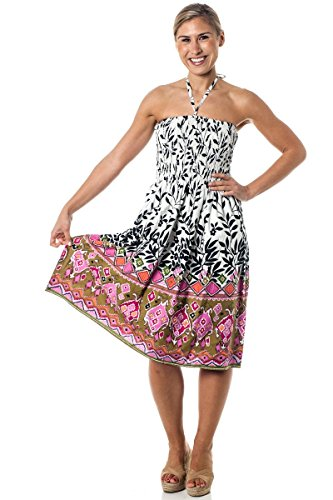 One-size-fits-most Tube Dress/Coverup - Aztec Garden Pink (Summer Tube Top)
