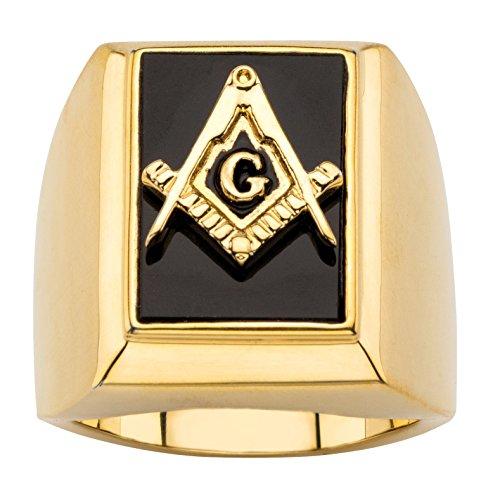 en's Emerald-Cut Genuine Black Onyx 14k Gold-Plated Masonic Cabochon Ring Size 13 ()