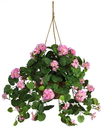 Nearly Natural 6609-PK Geranium Hanging Basket Decorative Silk Plant, Pink