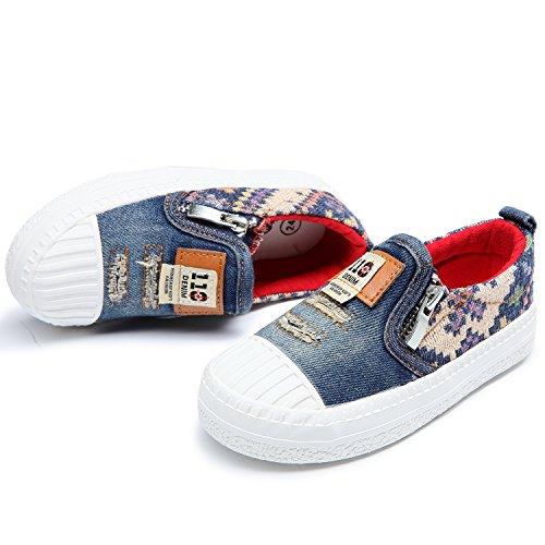 Alexis Leroy Denim - Zapatillas Sin Cierres de Cambray con Parches Niños Azul