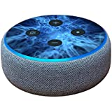MightySkins Skin for Amazon Echo Dot (3rd Gen) - Blue Mystic Flames | Protective, Durable, and Unique Vinyl Decal wrap Cover | Easy to Apply, Remove, and Change Styles | Made in The USA