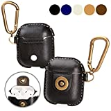 A+case AirPods case leather cover accessories with hook keychain & earbuds strap shock resistant full protective case for Apple AirPods iPhone 7 wireless earbuds charging case (Black)