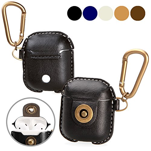 A+case AirPods case leather cover accessories with hook keychain & earbuds strap shock resistant full protective case for Apple AirPods iPhone 7 wireless earbuds charging case (Acs Reel)