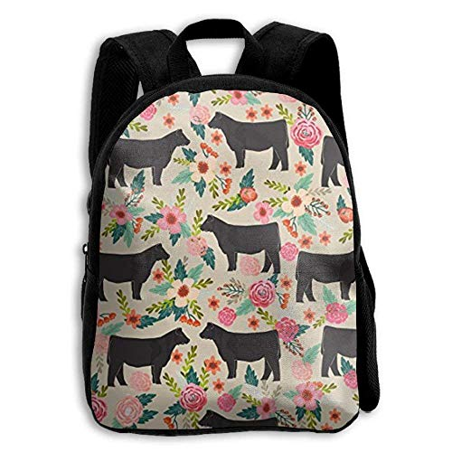 Show Steer Cows Farm Barn Florals Design Student Backpack School Backpack For Girls Boys For Middle School Cute Book Bag -