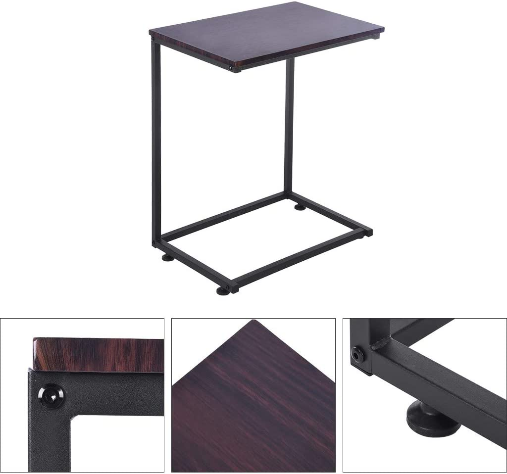 Bedside Laptop Tablet Table Metal and Wood Outdoor /& Indoor Coffee Table wuliLINL C Shaped Snack Small Space Side Table 22.1 x 13.8 x 26.0 inches Accent Sofa End Table