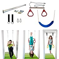 DreamGYM Indoor Swing - Trapeze Bar & Gymnastic Rings Combo and Rope Swing for Doorway Gym