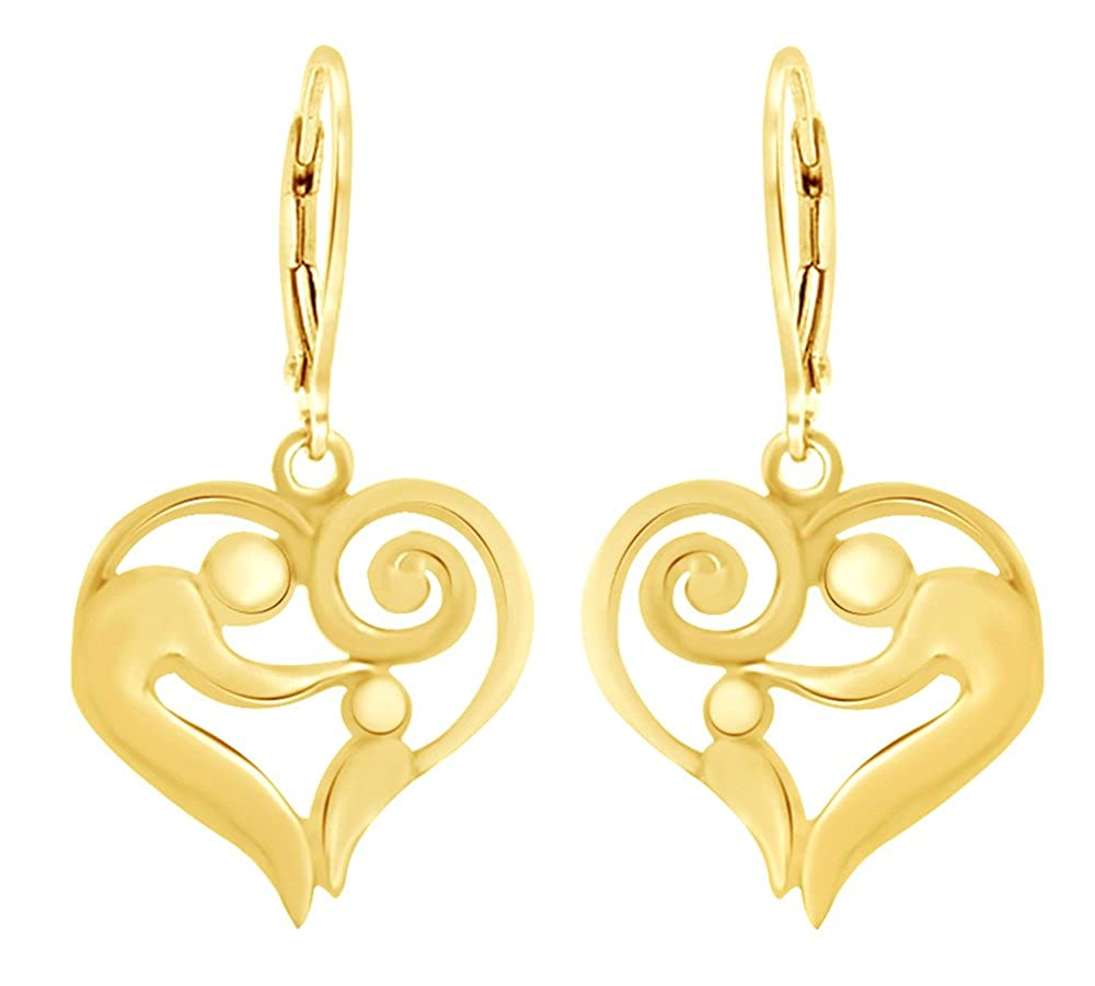 98708b547 Amazon.com: 14K Rose Gold Over Sterling Silver Mother And Child Heart Drop  Earrings: Jewelry