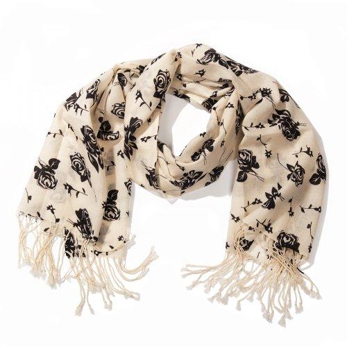 e280183b9 Cashmere Scarf - Elysea - 100% Cashmere - Black & White & Flowers:  Amazon.co.uk: Clothing