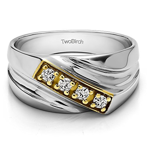 - 14k Two Tone Gold Gent's Ring Diamonds (G-H,I2-I3)(0.24Ct) Size 3 To 15 in 1/4 Size Intervals