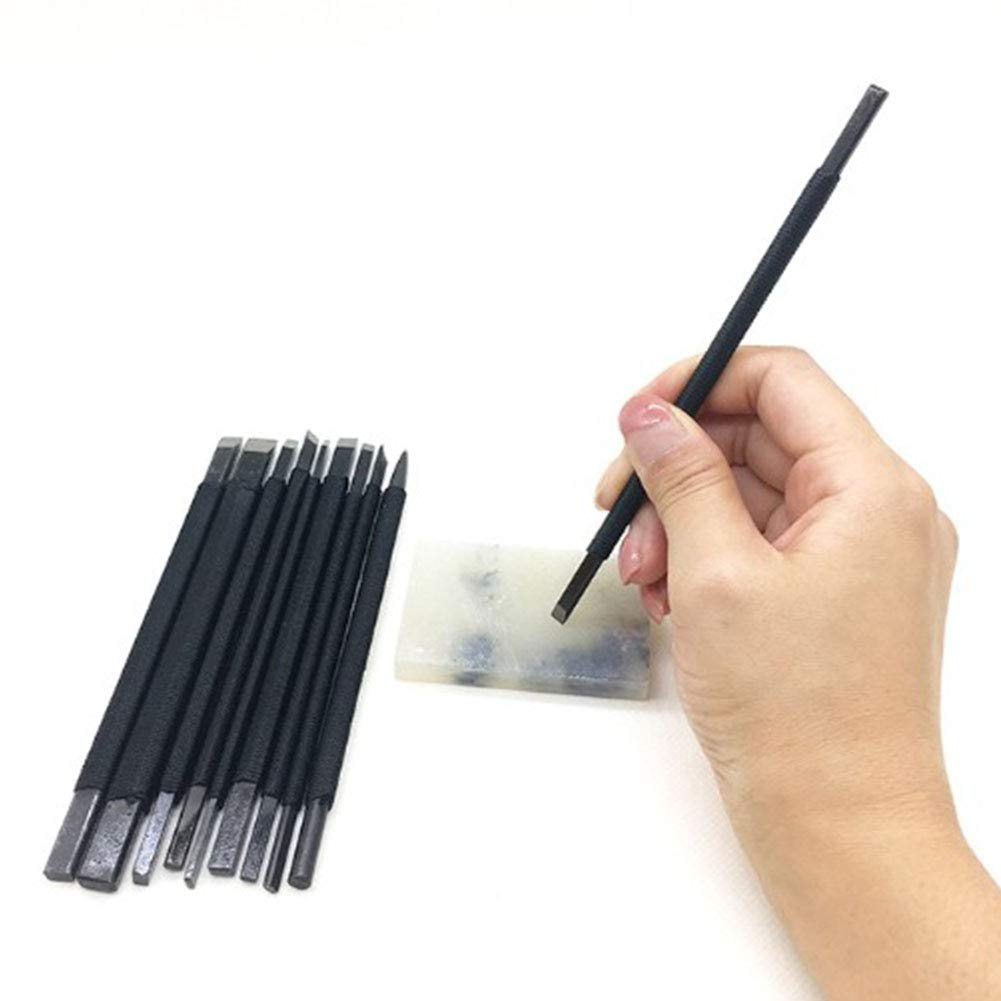 10Pcs//Tungsten Steel Stone Carving Tool Carving Chisels//Knives Kits DIY Tool Extra Portable Seal Lettering