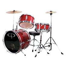 GP Percussion GP50RD Complete Junior Drum Set, Red, 3-Piece Set