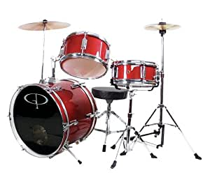 GP Percussion GP50RD Complete Junior Drum Set (Red, 3-Piece Set)